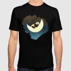 Sleeping Panda on the Moon Black MEDIUM Mens Fitted Tee