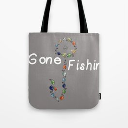 Gone Fishin Fishing Lures and Hooks on Gray Background Tote Bag