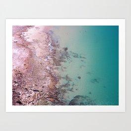 Aerial beach Turquoise pink Ocean coast, zen Aerial Coast Ocean Beach Wall Art Nautical Decor Port Art Print