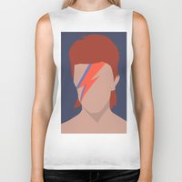 bowie Biker Tanks featuring Bowie by Zoebellsmith