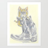 mew Art Prints featuring Mew by Connie Campbell