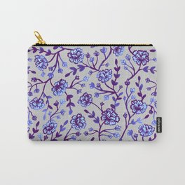 Watercolor Peonies - Periwinkle Carry-All Pouch