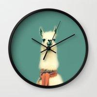 llama Wall Clocks featuring Llama by ernieandbert