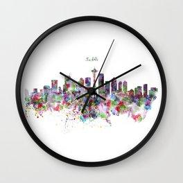 Seattle Skyline Silhouette Wall Clock