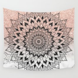 Boho black watercolor floral mandala rose gold glitter ombre white marble Wall Tapestry