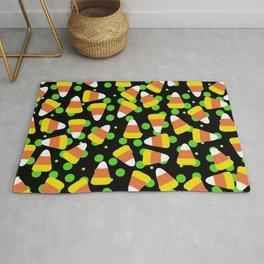 Candy Corn Jumble (black background) Rug