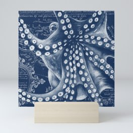 Octopus Vintage Map Blue Nautical Art Mini Art Print