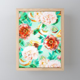 Tropical flowery fruit glitch Framed Mini Art Print