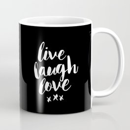 Live Laugh Love black and white monochrome typography poster design home wall decor canvas Coffee Mug