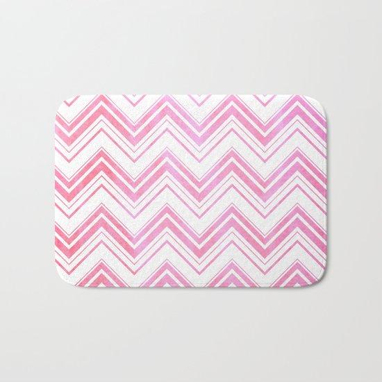 Chevron pattern pink watercolor on white #Society6 Bath Mat