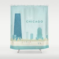 travel poster Shower Curtains featuring  Vintage Chicago Travel Poster by Travel Poster Co.