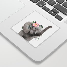 Baby Elephant with Flower Crown Sticker