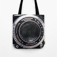 vintage camera Tote Bags featuring Camera by Katherine Ridgley
