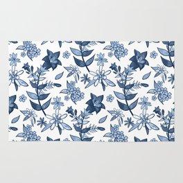 Monochrome Blue Alpine Flora Rug