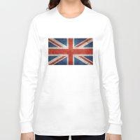 british flag Long Sleeve T-shirts featuring UK British Union Jack flag retro style by Bruce Stanfield