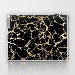 Stylish black faux gold foil elegant marble Laptop & iPad Skin
