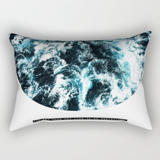 Free Like The Sea, digital collage, ocean waves, seascape, geometric nature, minimalist print, quote Rectangular Pillow
