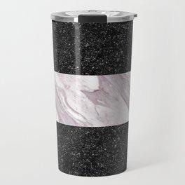 Black Glitter & Marble Stripes | Digital Design | Pattern Travel Mug