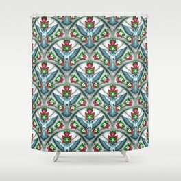 Bluebird Art Deco Pattern  Shower Curtain