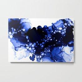 Royal Blue Abstract Ink Art Metal Print
