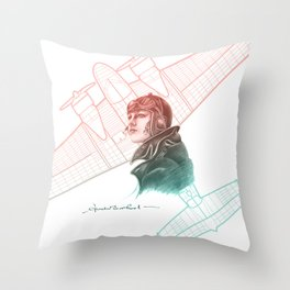 Amelia Earhart Courageous Adventurer Throw Pillow