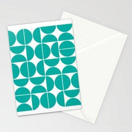 Mid Century Modern Geometric 04 Turquoise Stationery Cards