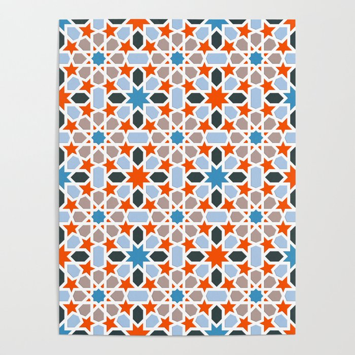 Mosaic Pattern Red Blue Colorful Abstract Oriental Pattern Poster By Ohaniki