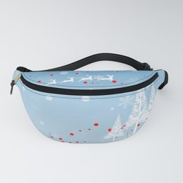 Christmas landscape with snow, Santa Claus, mountains and trees Fanny Pack