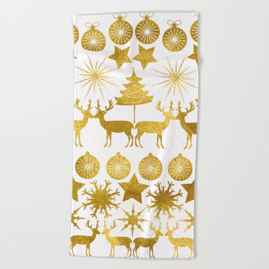 Gold Christmas 04 Beach Towel