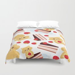 attern cute kawaii hamster with fresh Strawberry, cake decorated pink cream and chocolate Duvet Cover