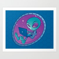 Alien with Laptop Computer Art Print