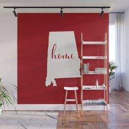Alabama is Home - White on Red Wall Mural