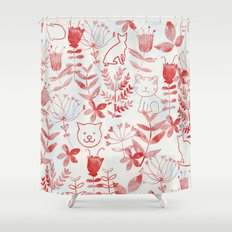 Watercolor Floral & Cat Shower Curtain