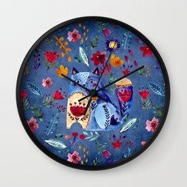 The Cheeky Cat in Flower Garden Wall Clock