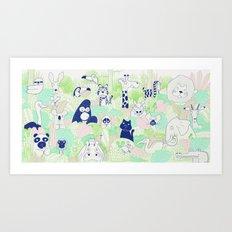 Funny animals - Blue, green version Art Print