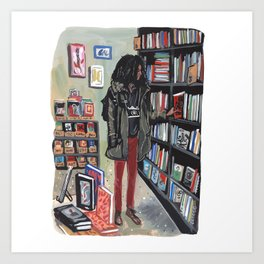 NYC Bookstore Browsing Art Print