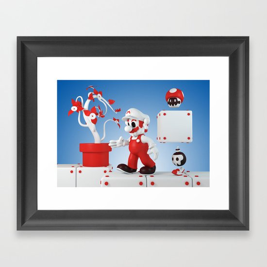Superskull Fire Mario Framed Art Print