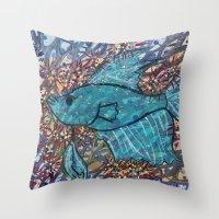 finn Throw Pillows featuring Finn by fawnadine