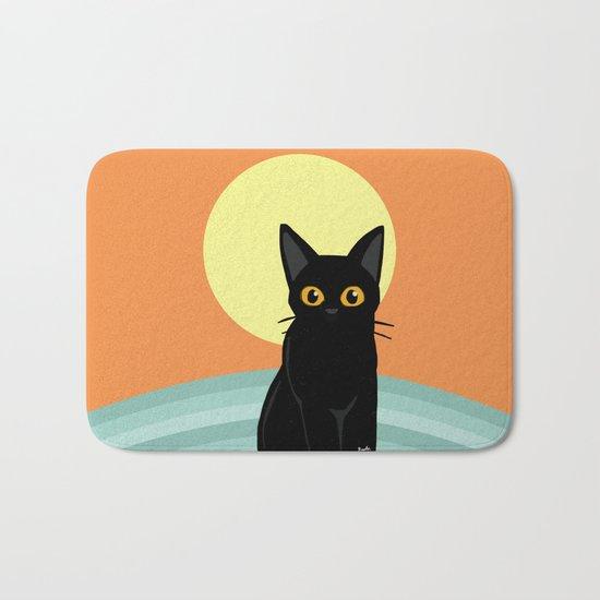 Sunset and cat Bath Mat