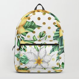 CHRISTMAS PAPER YELLOW POINSETTIAS GOLDEN POLKA DOTS  Backpack