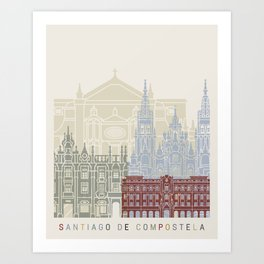 Santiago de Compostela skyline poster Art Print