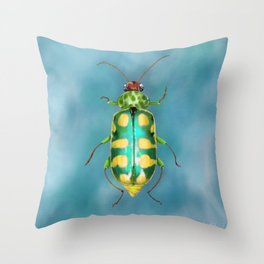 Banded Cucumber Beetle - Metallic Green & Yellow Bug Insect Throw Pillow