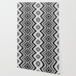 Black White Diamond Crochet Pattern Wallpaper