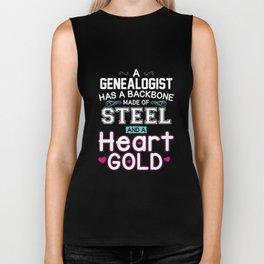 A GENEALOGIST HAS A BACKBONE MODE OF STEEL AND A HEART GOLD Biker Tank