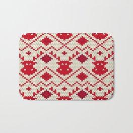 Knitting texture Christmas deer Bath Mat