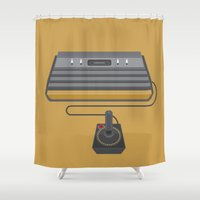 gaming Shower Curtains featuring Retro Gaming - Atari by minemine