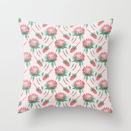 Pink Proteas Throw Pillow