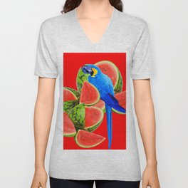 ABSTRACT RED WATERMELON & BLUE MACAW PARROT Unisex V-Neck