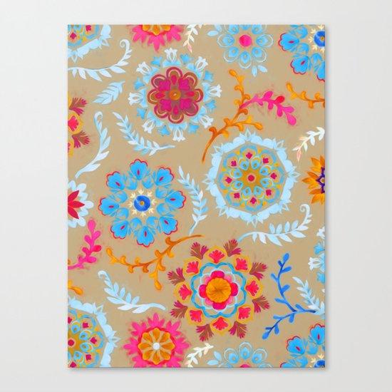 Brown Sugar Suzani Inspired Pattern Canvas Print
