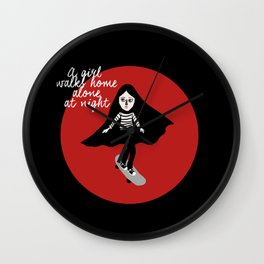 A girl walks home alone at night  Wall Clock